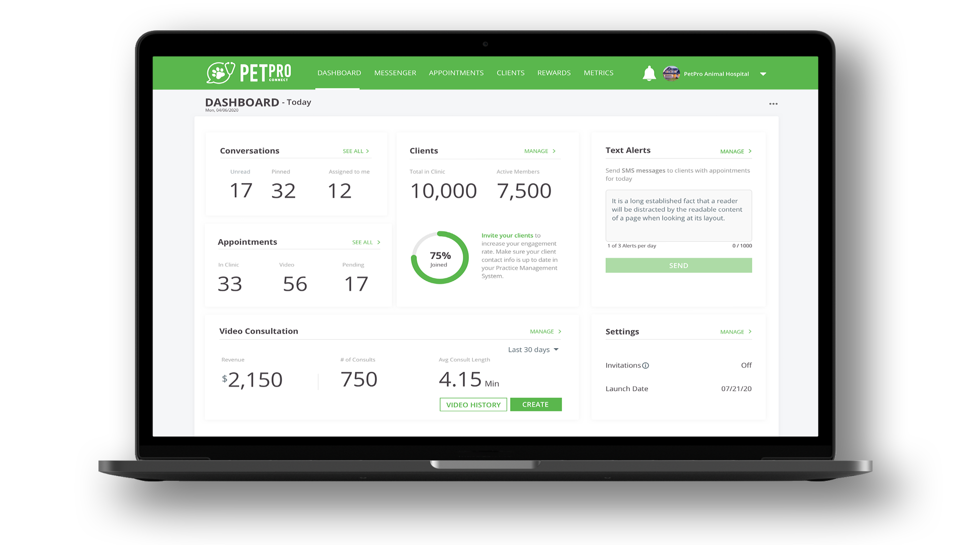 Screenshot of the PetPro Connect dashboard
